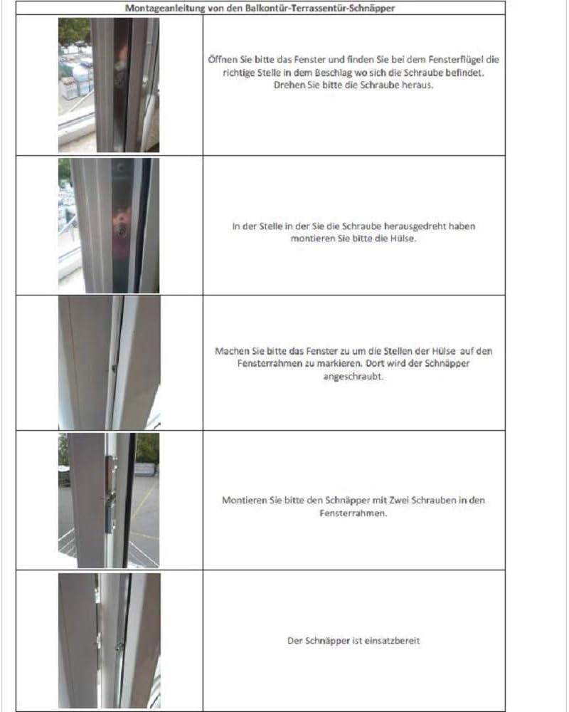 Loqueteau de porte de balcon en m/étal Avec pendant Pour diff/érents profils Instructions de montage fran/çais non garanti Br/ügmann // Veka
