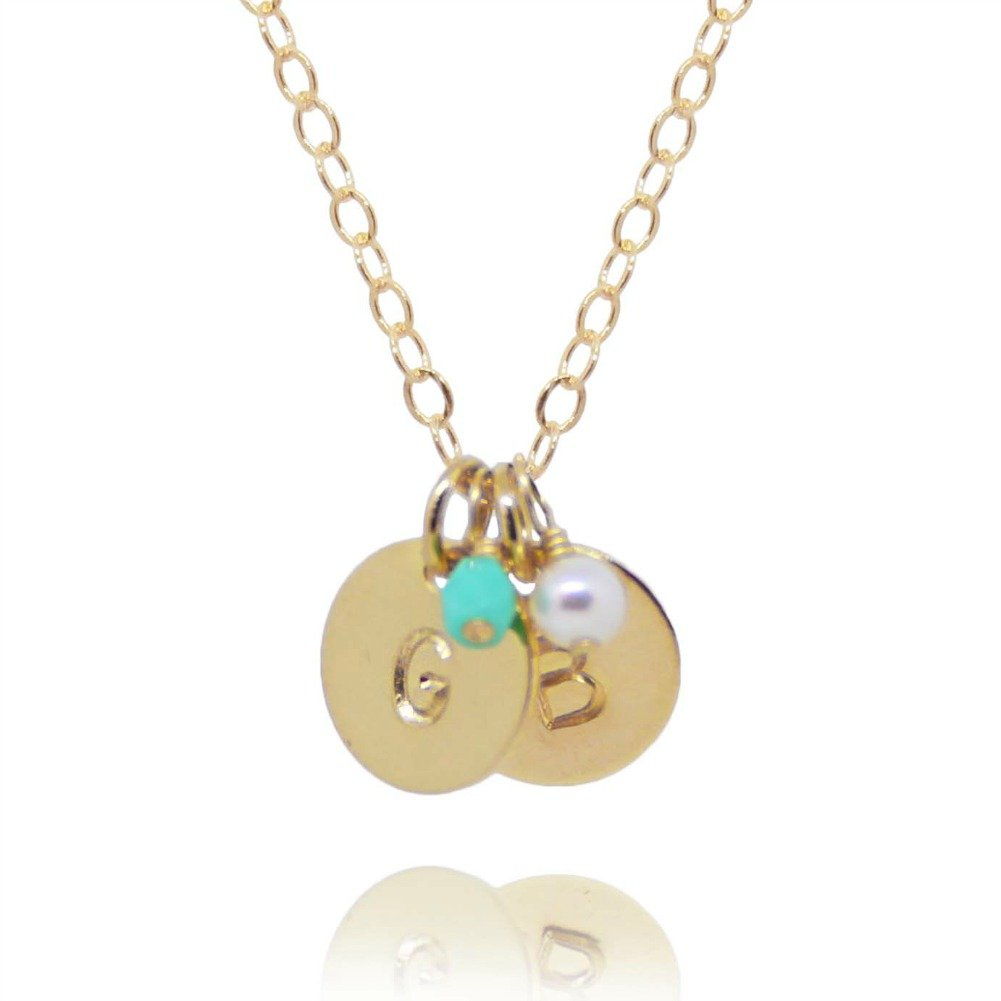 Efy Tal Jewelry Two Initial Necklace with Birth Month Charms, Tiny Gold Filled Custom 2 Personalized Dainty Discs