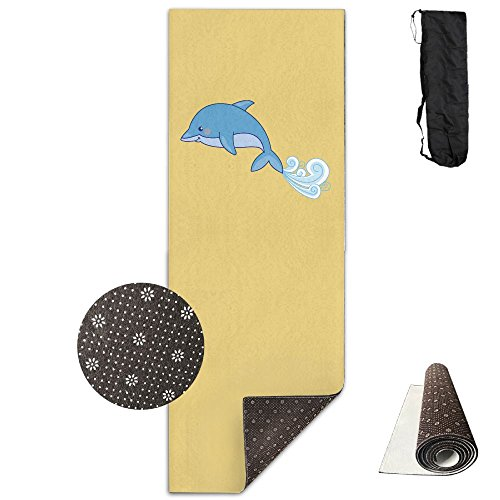 Jessent Yoga Mat Non Slip Dolphins Printed 24 X 71 Inches Premium For Fitness Exercise Pilates With Carrying -