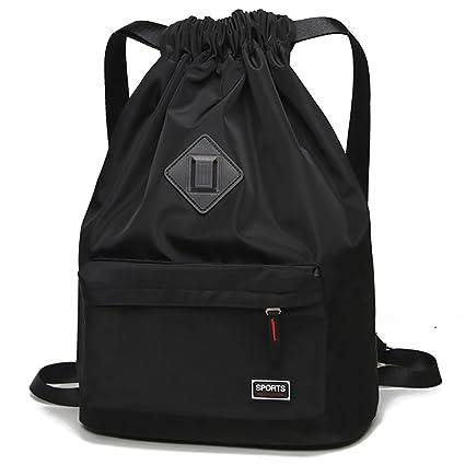 d9946b147444 Peicees Waterproof Drawstring Sport Bag Lightweight Sackpack Backpack for  Men and Women(Black)