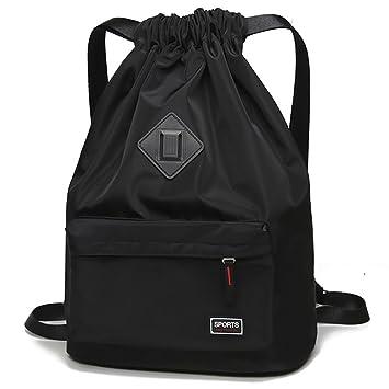 aa46e62614 Peicees Waterproof Drawstring Sport Bag Lightweight Sackpack Backpack for  Men and Women(Black)
