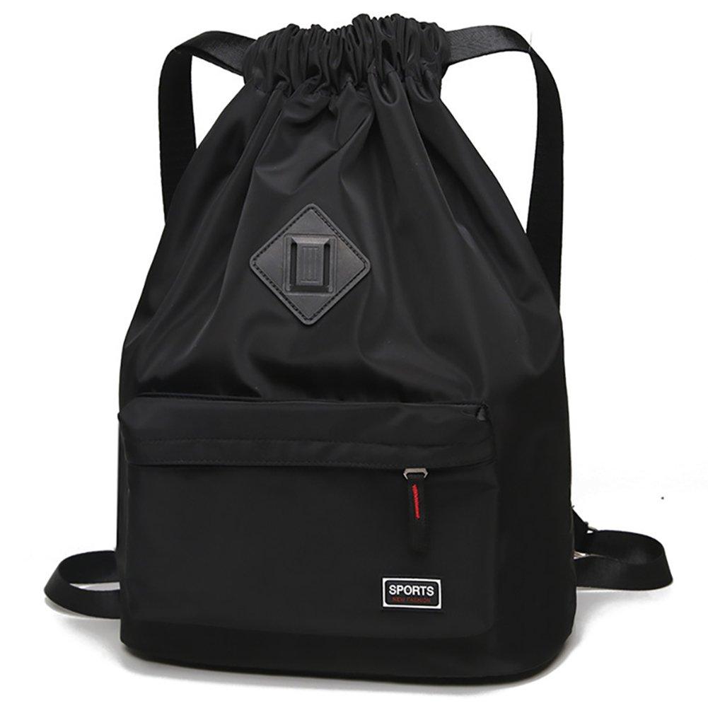 Peicees Waterproof Drawstring Sport Bag Lightweight Sackpack Backpack for Men and Women(Black)