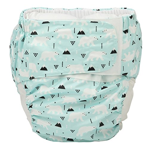 Sigzagor Large Teen Adult Cloth Diaper Nappy Reusable Washable for Disability Incontinence with Hook and Loop (Polar Bears (Large 26in to 50in))