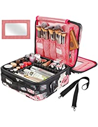 Travel Makeup Bag 2 Layer Portable Train Cosmetic Case Organizer with Mirror Shoulder Strap Adjustable Dividers for Cosmetics Makeup Brushes Toiletry Jewelry Digital Accessories (Flower)