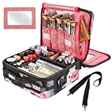 Kootek Travel Makeup Bag 2 Layer Portable Train Cosmetic Case Organizer with Mirror Shoulder Strap Adjustable Dividers for Cosmetics Makeup Brushes Toiletry Jewelry Digital Accessories (Flower)