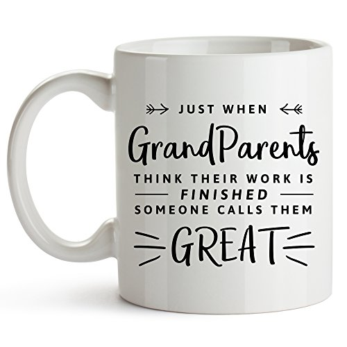 YouNique Designs Great Grandparents Baby Announcement Coffee Mug, 11 Ounces, Promoted to Great Grandma Cup
