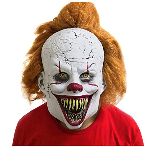 Halloween Exposed Teeth (L'VOW Adult Clown Mask with Hair and Exposed Teeth for Halloween Costume Prop, Cosplay, Theme Party (Type)