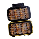 MagiDeal 40pcs Fly Fishing Flies Kit Fishing Flies Dry Flies Assortment + Fly Box for Bass Salmon Trout Fish