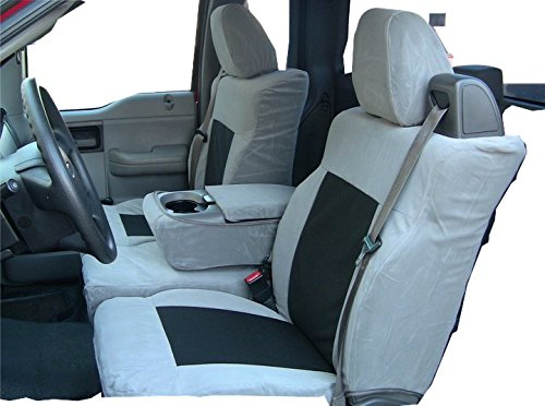Durafit Seat Covers Made to fit Ford F150 XLT Supercab Front 40/20/40.Seat Belts Come from top of seat, NOT for Double CAB Gray Automotive Twill