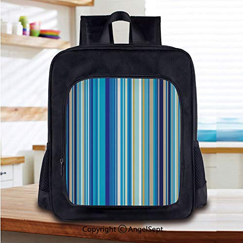 Stripe Repeating - Kids School Backpack,Vertical Stripes Repeating Retro Revival Pattern Funky Abstract Composition Decorative Nursery Room Decorations Classic,Plain Bookbag Travel Daypack,Mustard Blue White