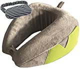Memory Foam Travel Neck Pillow Luxury U-Shaped Folding Pillow Perfect Support & Comfort. Best for Airplane Train Office... With Carry-On Bag And FREE Eye Mask From Dipo Globe 100% GUARANTEE!(LIGHT GREY)