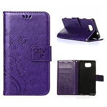 MOONCASE Galaxy Alpha Wallet Case Flower Pattern Premium PU Leather Case for Samsung Galaxy Alpha G850 Bookstyle Soft TPU [Shock Absorbent] Flip Bracket Cover Purple