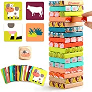 TOP BRIGHT Colored Stacking Board Game for Kids Ages 4-8, 51 Piece Wooden Blocks Toy for Children