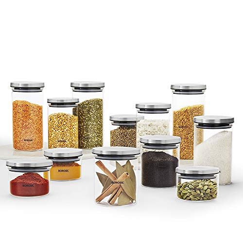 Borosil Classic Glass Jar for Kitchen Storage, Set of 12,  300ml + 600ml + 900ml + 1.2L