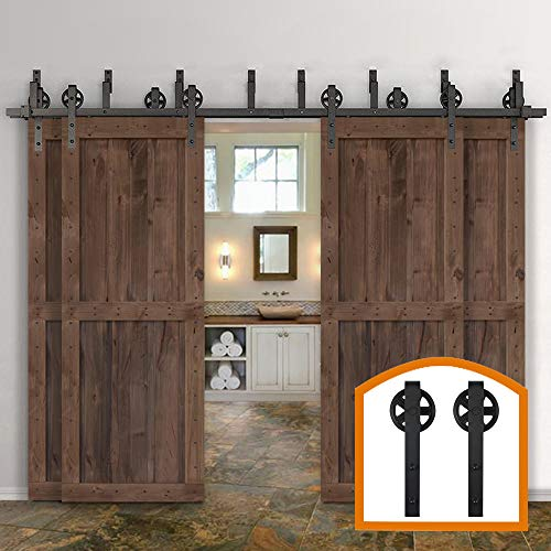 - ZEKOO Rustic 10-16 FT Bypass 4 Doors Barn Door Hardware Sliding Black Steel Big Wheel Roller Track (15 FT Bypass 4 Doors Hardware Kit)