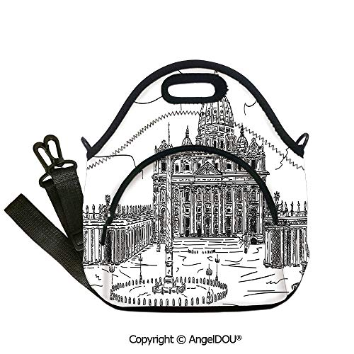 AngelDOU Art waterproof neoprene lunch bags Hand Drawn Basilica di San Pietro Vatican Rome Italy European Historical Architecture insulation cold portable outdoor picnic lunch bo12.6x12.6x6.3(inch)