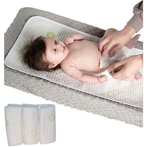 Waterproof Baby Changing Table Pads 3 Pack - Extra Soft Bamboo Baby Diaper Changing Liners - Leak-Proof - Stain Protective Cover for Changing Dresser- Absorbent and Perfect Baby Shower Gift Registry! Baby Changing Table Protective Liners