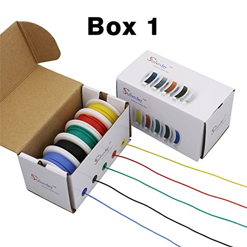 Striveday™Flexible Silicone Wire 18awg Electric wire 18 gauge Coper Hook Up Wire 300V Cables electronic stranded wire cable electrics DIY BOX-1 (Electronic Copper)