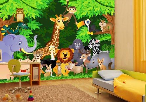 Tapete kinderzimmer tiere  Fototapete Urwaldparty Kinder KT260 Größe: 400x280cm Tapete ...