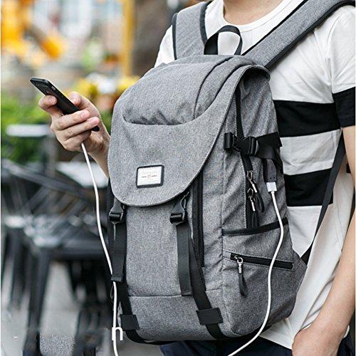 MUMA Daypacks Studententasche Rucksack Große Kapazität Computer Rucksack Lässiger Rucksack Canvas Tasche USB-Ladevorgang ( Farbe : Rock lime ) Silber Grau
