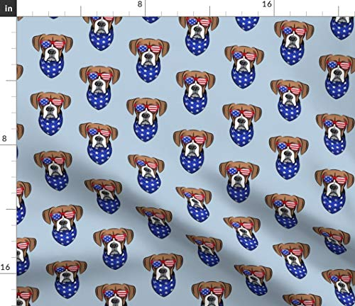 Spoonflower Cute Dog Fabric - Dog Boxer Patriotic Glasses Bandana Blue Cute Dog Patriotic Boxer Glasses 4Th of July Dog Lover by Littlearrowdesign Printed on Petal Signature Cotton Fabric by The Yard