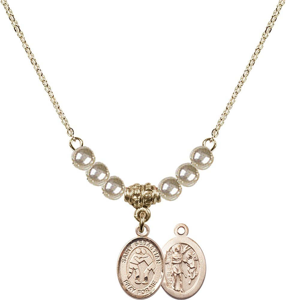 18-Inch Hamilton Gold Plated Necklace with 4mm Faux-Pearl Beads and Gold Filled Saint Sebastian/Wrestling Charm.