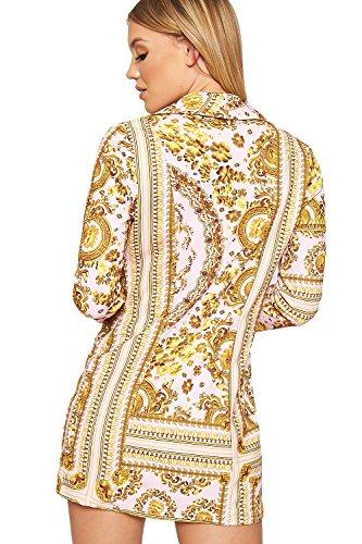 Imprimer Rose Cachemire Motif Longue Baroque Haut Veste Blazer Manche Wearall Robe Femmes Dames 40 34 Rétro wI1tZX