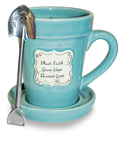Divinity Boutique 22865 Flower Pot Plant Faith-Aqua (Spoon with Scripture), Multicolor