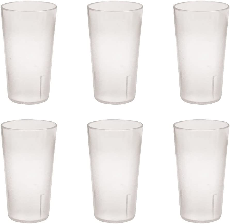 12 Ounce Restaurant Tumbler Beverage Cup, Stackable Cups, Break-Resistant Commmerical Plastic, Pebbled Texture, Set of 6 - Clear