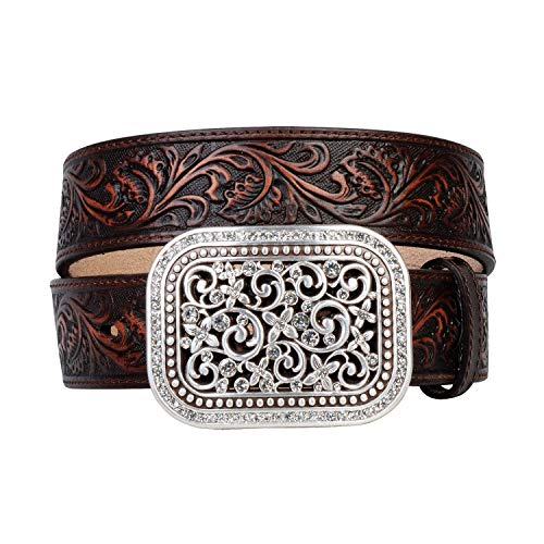 - Ariat Women's Scroll Embossed Buckle Belt, brown, Small