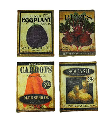 (Timeless By Design Vintage Garden Seed Packet Art Burlap Wall Hanging Set of 4)