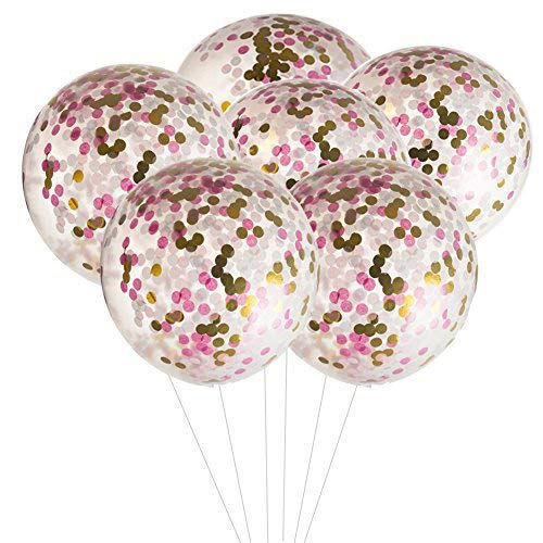 MOWO 36 inch Jumbo Confetti Balloons Giant Clear Latex Helium Balloons Large Pink and Gold Fuchsia Tissue Paper Confetti Balloons Wedding Decoration New Years Eve Party Christmas Decor