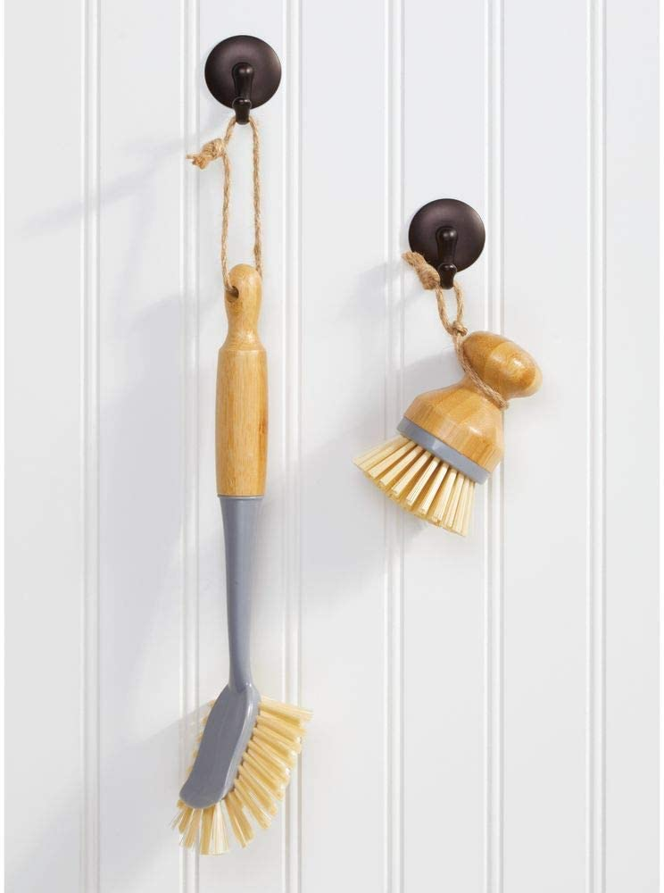 blanc//couleur nature po/ëles mDesign brosse vaisselle en bambou lot de 2 accessoire vaisselle rond et long pour laver les casseroles assiettes et couverts utile comme brosse l/égume