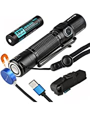 Olight M2R LED Rechargeable Tactical Flashlight 1500 Lumens, Uses Cree XHP35 HD CW LED, USB Magnetic Charging System, 18650 HDC Battery Included Dual Switch EDC Light with 6 Lighting Modes, IPX8 Water Resistant for Outdoors