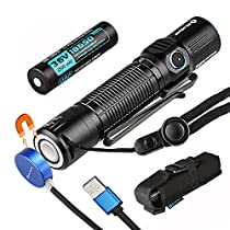 Olight® M2R 1500 Lumens Dual Switch LED Rechargeable Flashlight, USB Magnetic Rechargeable with Cree XHP35 HD CW LED, 18650 HDC Battery Included Pocket Light 6 Modes, WaterproofIPX8