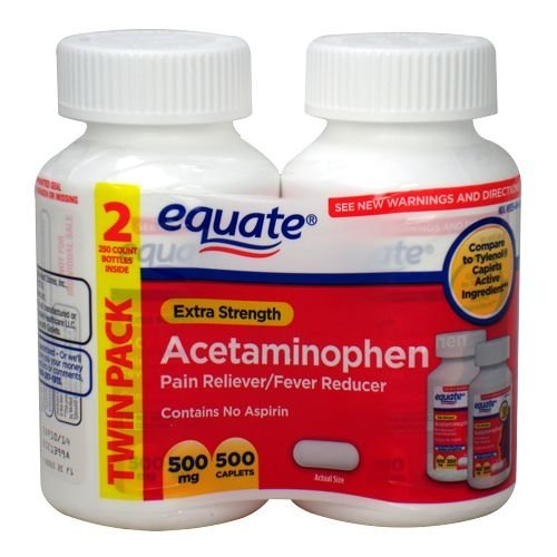 Equate Extra Strength Acetaminophen LARGE Twin-Pack 500mg, 5
