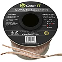 GearIT Elite Series 12AWG Flat Speaker Wire (250 Feet/76 Meters) - Oxygen Free Copper (OFC) CL2 Rated In-Wall Installation for Home Theater, Car Audio, and Outdoor Use, Clear