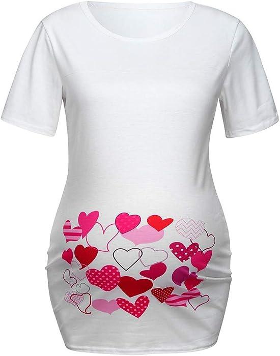 716fbc937e063 Maternity Tee, Women Maternity Heart Print T-Shirt Cute Funny Pregnancy  Shirt Top White