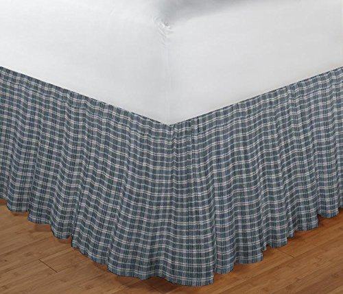 Patch Magic Blue and White Plaid Fabric Dust Ruffle, Queen