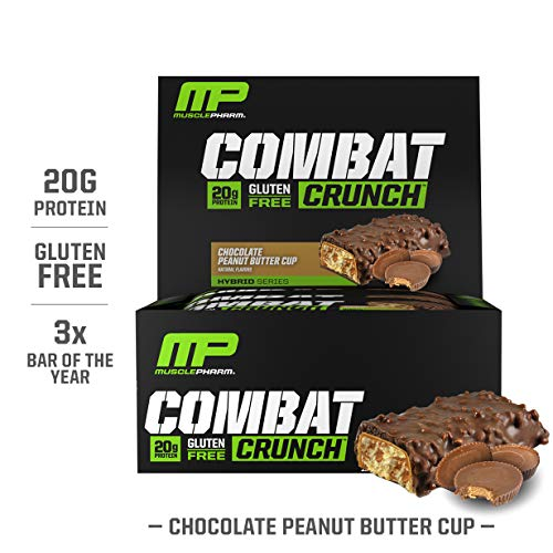 MusclePharm Combat Crunch Protein Bar, Multi-Layered Baked Bar, Gluten-Free Bars, 20 g Protein, Low-Sugar, Low-Carb, Gluten-Free, Chocolate Peanut Butter Cup Bars, 12 Servings (Best Muscle Pharm Combat Flavor)