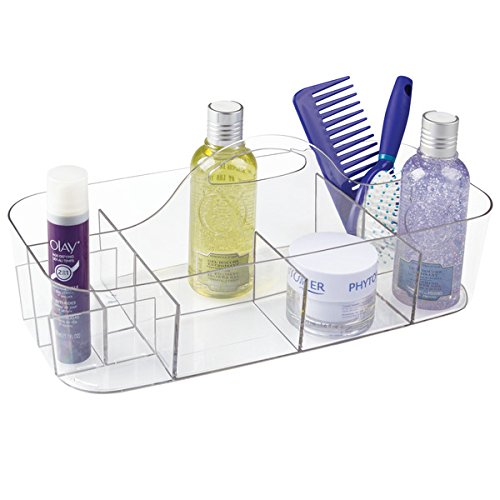 mDesign Plastic Portable Storage Organizer Caddy Tote - Divided Basket Bin with Handle for Bathroom, Dorm Room - Holds Hand Soap, Body Wash, Shampoo, Conditioner, Lotion - Extra Large - Clear