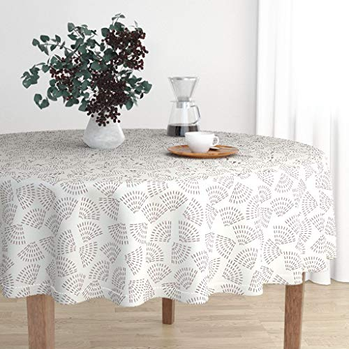 Roostery Round Tablecloth - Wildflower Wildflower Seeds Mauve Wildflower Seed Mauve Modern Home Wildflower by Holli Zollinger - Cotton Sateen Tablecloth 70in