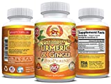 Turmeric Curcumin 1000 mg with Ginger and BioPerine (60 Capsule) – Natural Ginger Extract 200mg and Black Pepper Extract 10 mg Capsules – Anti-Inflammatory & Helps Digestion and Metabolism Naturally