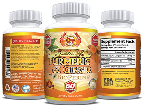 Turmeric Curcumin 1000 mg with Ginger and BioPerine (60 Capsule) - Natural Ginger Extract 200mg and Black Pepper Extract 10 mg Capsules - Anti-Inflammatory & Helps Digestion and Metabolism Naturally