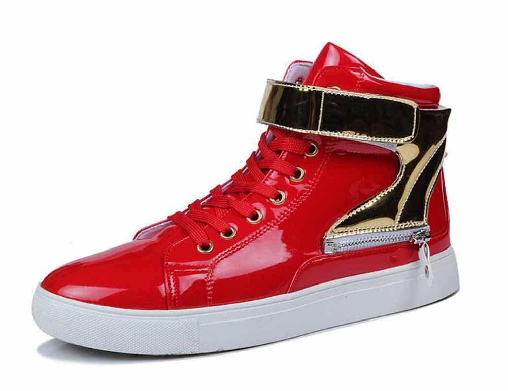 Hombres Charol Plano Zapatos 2017 Otoño Invierno Nuevo Cima Mas Alta Zapatillas Personalidad Patineta Zapatos ( Color : Red , Size : 43 ) 43|Red