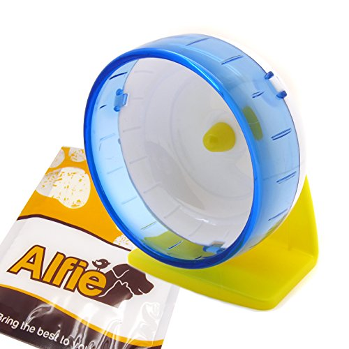 Alfie Pet by Petoga Couture - Jones Exercise Running Wheel with Stand for Mouse, Chinchilla, Rat, Gerbil and Dwarf Hamster - Color: Blue, Size: Medium