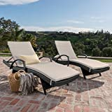 Olivia Patio Furniturre ~ Outdoor Wicker Chaise Lounge Chair with Arms w/ Water Resistant Cushions (Set of 2) (Grey with Textured Beige) Review