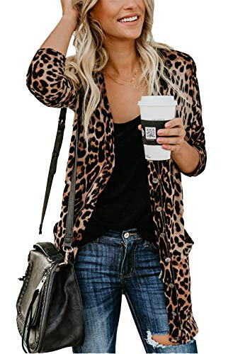 - MarcoJudy Women's Leopard Print Button Down Lightweight Open Front Shirt Cardigans