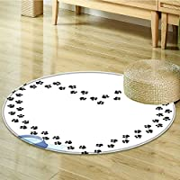Round Rugs for Bedroom Puppy Heart Shaped Trail Of Paw Prints Bone Dog Circle Rugs for Living Room-Round 55
