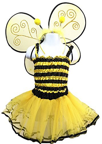 4 Different Themes Toddler Girl's Dress-Up or Costume Wing & Tutu Sets - Bee w/ Shirt